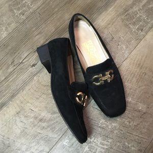 Salvatore Ferragamo Black Suede Loafers Shoes